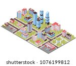 city district isometric... | Shutterstock .eps vector #1076199812