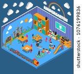 kindergarten isometric...   Shutterstock .eps vector #1076199836