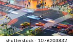 traffic crosses a busy... | Shutterstock . vector #1076203832