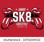 sk8. vector placard with hand... | Shutterstock .eps vector #1076204522