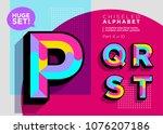 vector mosaic typeset. textured ... | Shutterstock .eps vector #1076207186