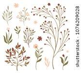 vector floral set | Shutterstock .eps vector #1076209028