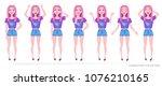 girl teenager in fashionable...   Shutterstock .eps vector #1076210165