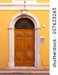 double wooden door with stone... | Shutterstock . vector #107623265
