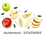 green and red apples with... | Shutterstock . vector #1076254565