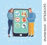 vector cartoon illustration of... | Shutterstock .eps vector #1076261192