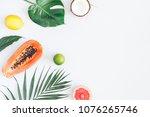 summer tropical composition....   Shutterstock . vector #1076265746