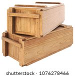wooden box isolated on white... | Shutterstock . vector #1076278466