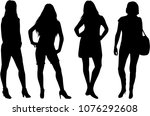silhouette of a woman. | Shutterstock .eps vector #1076292608
