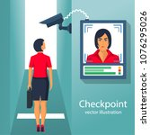 checkpoint with a surveillance... | Shutterstock .eps vector #1076295026