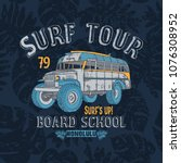 surf tour school bus print and...   Shutterstock .eps vector #1076308952