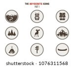 boy scouts icons  patches.... | Shutterstock . vector #1076311568