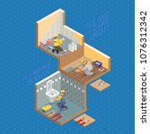 isometric interior repairs... | Shutterstock .eps vector #1076312342