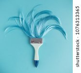 paintbrush with long blue hair... | Shutterstock . vector #1076313365