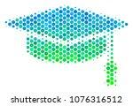 halftone dot graduation cap...   Shutterstock . vector #1076316512