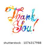 thank you. hand written vector... | Shutterstock .eps vector #1076317988