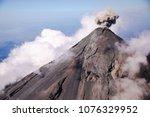 aerial view of erupting fuego...   Shutterstock . vector #1076329952