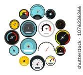 flat speedometer icons set....