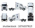 vector semi truck template... | Shutterstock .eps vector #1076337815