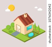 brown house building isometric... | Shutterstock .eps vector #1076342042