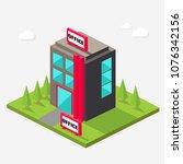 black office building isometric ... | Shutterstock .eps vector #1076342156