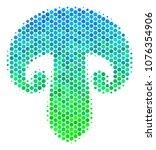 halftone circle champignon... | Shutterstock . vector #1076354906