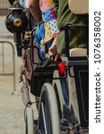 Small photo of ALMAYATE, SPAIN - APRIL 22, 2018 Traditional Andalusian contest based on the presentation of the ability to drive horse with a cart, professional work of carters with horses