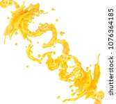 juice splashes spiral jets with ... | Shutterstock . vector #1076364185