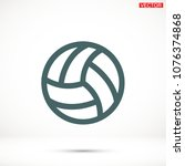 volleyball ball outline vecto | Shutterstock .eps vector #1076374868