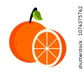 isolated orange fruit | Shutterstock .eps vector #1076375762