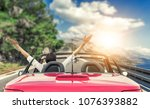 young woman in a car with a... | Shutterstock . vector #1076393882