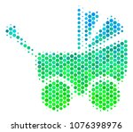 halftone circle baby carriage... | Shutterstock .eps vector #1076398976