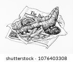 hand drawn fish and chips | Shutterstock . vector #1076403308