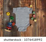 Mockup Flat Lay Of Gray Baby...
