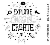 explore  imagine and create... | Shutterstock .eps vector #1076421185
