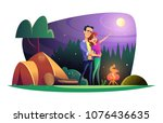 loving couple watches the full... | Shutterstock .eps vector #1076436635