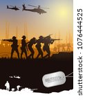 Military vector illustration, Army background, soldiers silhouettes, Artillery, Cavalry, Airborne, Close Quarter Battle, Army Medical.