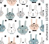 Stock vector cute bunny rabbit seamless pattern vector background creative nursery background perfect for kids 1076452148