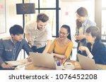 multiethnic group of happy...   Shutterstock . vector #1076452208