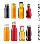 different glass juice bottles...   Shutterstock . vector #1076457395