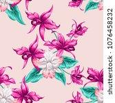 tropical beautiful flowers... | Shutterstock .eps vector #1076458232
