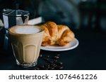 latte art  croissant and moka...   Shutterstock . vector #1076461226