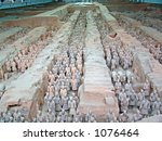 Terra Cotta Warriors which have been restored, Xian, China - stock photo