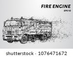 fire engine from the particles. ... | Shutterstock .eps vector #1076471672
