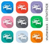 traffic jam icon. set of white... | Shutterstock .eps vector #1076475428