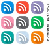 rss icon. set of white icons on ...   Shutterstock .eps vector #1076475476