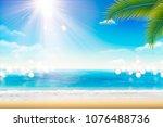 summer resort scenery with...   Shutterstock .eps vector #1076488736