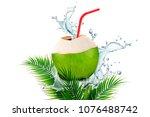 coconut water with splashing... | Shutterstock .eps vector #1076488742