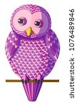 funny curious pink purple owl...   Shutterstock .eps vector #1076489846