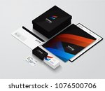 isometric stationery mockup... | Shutterstock . vector #1076500706